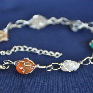 Wire armband met 5 mineralen